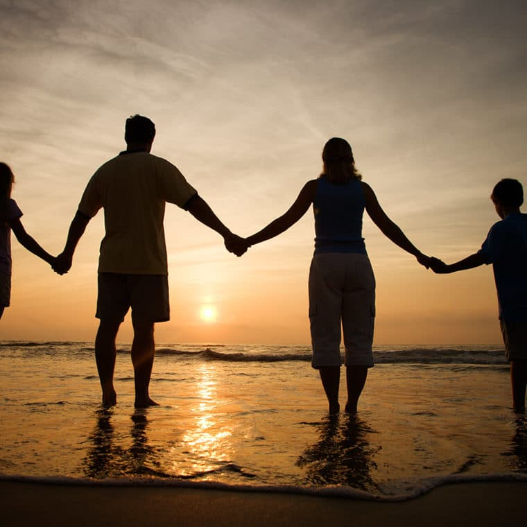 Family holding hands with a Sunset in the background